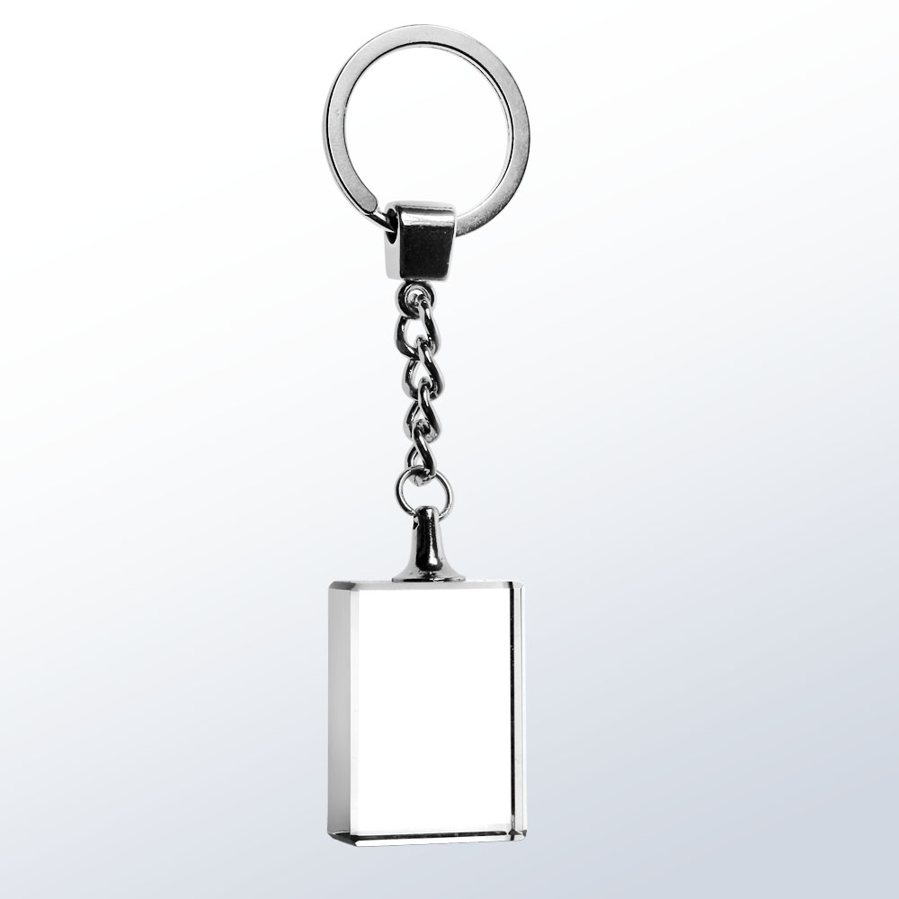 Key Chain, Rectangle - Optic Crystal