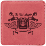 Square Pink Laserable Leatherette Coaster