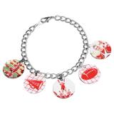 Charm Bracelet with 5 Custom Circle Charms