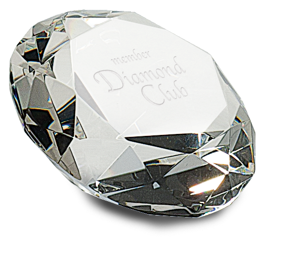 "Premier Crystal Paperweight, Diamond Shape (Gift: 4"" Diameter Diamond Paperweight)"
