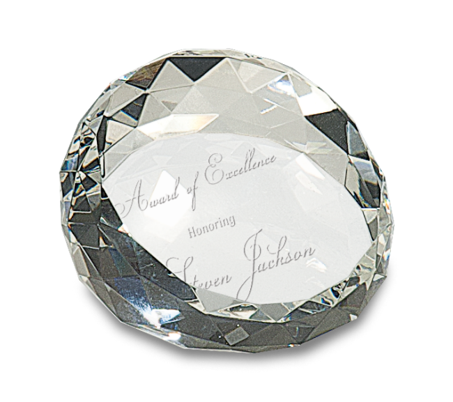 "Premier Crystal Paperweight, Round Crystal Cut (Gift: 1 3/4"" x 2 1/2"" Round Crystal Cut Paperweight)"
