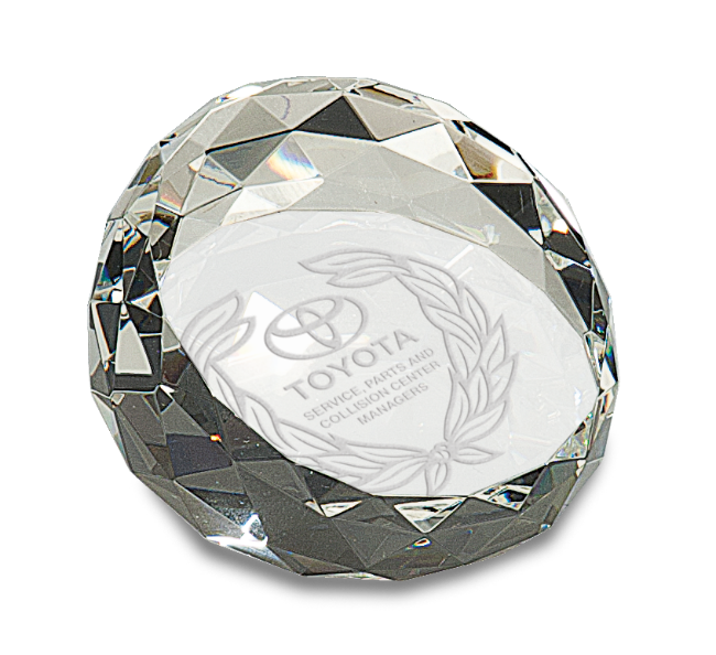 "Premier Crystal Paperweight, Round Crystal Cut (Gift: 2 x 3 1/2"" Round Crystal Cut Paperweight)"
