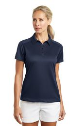 Ladies Dri-FIT Pebble Texture Golf Polo by Nike. 354064. (Color: Midnight Navy, Size: Large)