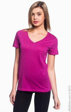Sheer Fashion Fit V-Neck Women's  T-Shirt - 3.2 oz.  392A. (Color: Raspberry, Size: Large)