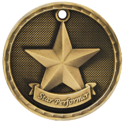 "6S562311 STAR PERFORMER 3D MEDAL (Medal: 2"" Antique Gold)"