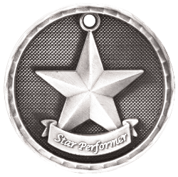 "6S562311 STAR PERFORMER 3D MEDAL (Medal: 2"" Antique Silver)"