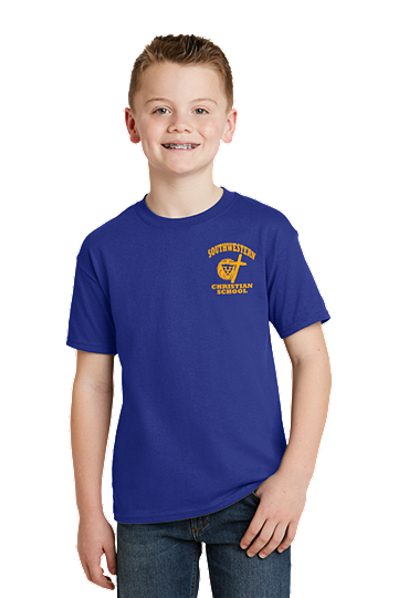 PE Shirt - Hanes® Youth EcoSmart®  - 6th thru 8th -  Youth SWCS (Color: Deep Royal, Size: SM - Size 6/8)
