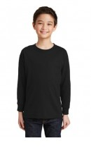 Gildan® Youth Heavy Cotton™ 100% Cotton Long Sleeve T-Shirt (Size: XS, School Colors: Black)