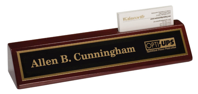 "6C1305 Premier Rosewood Piano Finish Desk Wedge w/ Card Holder & Name Plate (Desk Set: 8"" Rosewood Finish Desk Wedge w/Card Holder-Name Plate)"