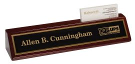 "Premier Rosewood Piano Finish Desk Wedge w/ Card Holder (Desk Set: 10.5"" Rosewood Finish Desk Wedge w/Card Holder-Name Plate)"