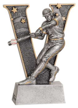 "6S0502 Baseball/ Softball ""V"" Resin Award (Trophy: 5"" Baseball Male ""V"")"