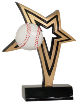 "6S0506 Baseball/ Softball Infinity Star Resin Award (Trophy: 6"" Baseball Infinity Star)"