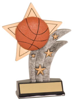 "6S1202 Basketball Sport Star Resin Award (Trophy: 5 1/2"" Basketball Sport Star)"
