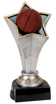 "6S1203 Basketball Rising Star Resin Award (Trophy: 5 3/4"" Basketball Rising Star)"