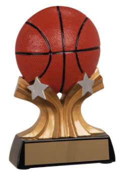 "6S1207 Basketball Shooting Star Resin Award (Trophy: 5"" Basketball Shooting Star)"