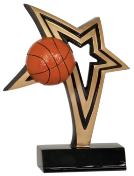 "6S1306 Basketball Infinity Star Resin Award (Trophy: 6"" Basketball Infinity Star)"