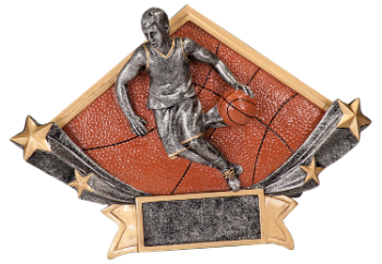 "6S1309 Basketball Diamond Star Resin Award (Trophy: 4 1/2"" Basketball Diamond Star)"