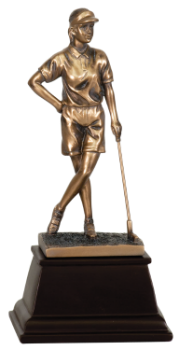 "6S2902 Golf Female Golfer, Bronze Resin (Trophy: 9"" Golf Female Golfer, Bronze)"