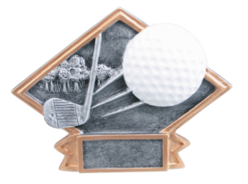 "6S3102 Golf Small Diamond Plate Resin Award (Trophy: 4 1/2"" x 6"" Golf Small Diamond Plate)"