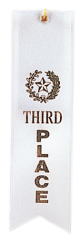 "6S3600 ""Pinked Top"" Ribbons (Award: 3rd Place (White/ Gold Graphics))"