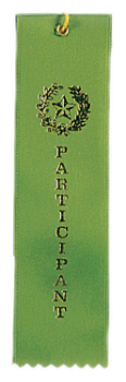 "6S3600 ""Pinked Top"" Ribbons (Award: Participant (Green/ Gold Graphics))"