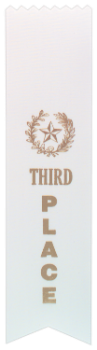"6S3600 Ranking Ribbons, 2"" x 8"" (Award: 3rd Place (White/ Gold Lettering))"