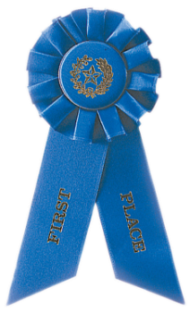 6S3600 Rosette Style Ribbons (Award: 1st Place (Blue/ Gold Graphics))