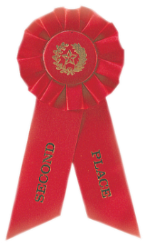 6S3600 Rosette Style Ribbons (Award: 2nd Place (Red/ Gold Graphics))