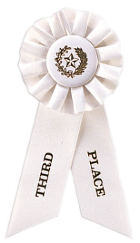 6S3600 Rosette Style Ribbons (Award: 3rd Place (White/ Gold Graphics)
