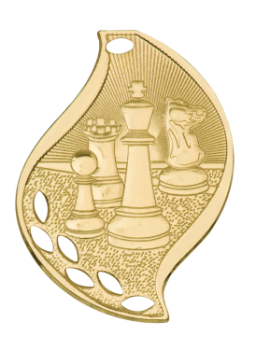 "6S4503 Premier Chess Flame Medal (Medal: 2 1/4"" Gold)"