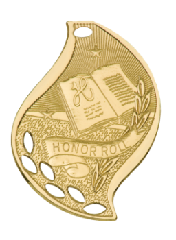 "6S4507 Premier Honor Roll Flame Medal (Medal: 2 1/4"" Gold)"