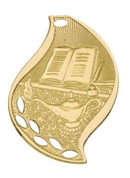 "6S4508 Premier Lamp of Knowledge Flame Medal (Medal: 2 1/4"" Gold)"