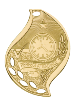 "6S4513 Premier Perfect Attendance Flame Medal (Medal: 2 1/4"" Gold)"