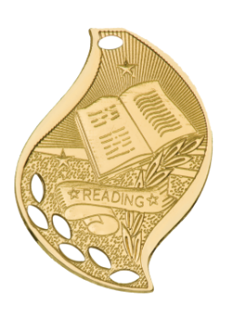 "6S4514 Premier Reading Flame Medal (Medal: 2 1/4"" Gold)"