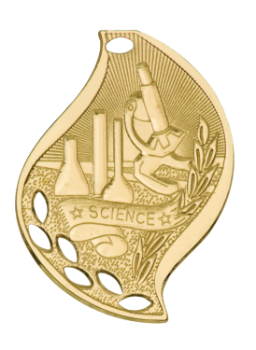 "6S4516 Premier Science Flame Medal (Medal: 2 1/4"" Gold)"