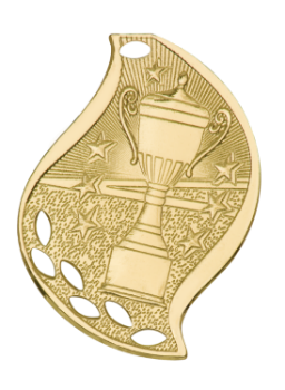 "6S4520 Premier Victory Cup Flame Medal (Medal: 2 1/4"" Gold)"