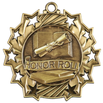 "6S4909 HONOR ROLL TEN STAR ACADEMIC MEDAL (Medal: 2 1/4"" Antique Gold)"