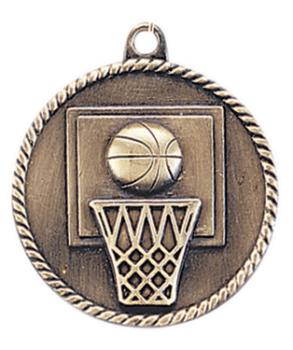 "6S5503 BASKETBALL HIGH RELIEF MEDAL (Medal: 2"" Antique Gold)"