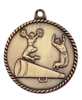"6S5505 CHEER HIGH RELIEF MEDAL (Medal: 2"" Antique Gold)"