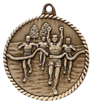 "6S5506 CROSS COUNTRY HIGH RELIEF MEDAL (Medal: 2"" Antique Gold)"