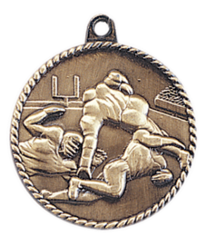 "6S5507 FOOTBALL HIGH RELIEF MEDAL (Medal: 2"" Antique Gold)"