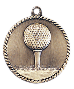 "6S5508 GOLF HIGH RELIEF MEDAL (Medal: 2"" Antique Gold)"