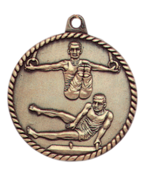 "6S5509 MALE GYMNASTICS HIGH RELIEF MEDAL (Medal: 2"" Antique Gold)"