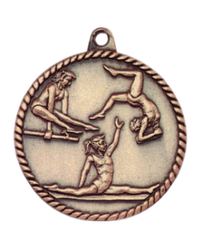 "6S5510 FEMALE GYMNASTICS HIGH RELIEF MEDAL (Medal: 2"" Antique Gold)"