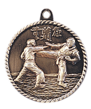 "6S5512 MARTIAL ARTS HIGH RELIEF MEDAL (Medal: 2"" Antique Gold)"