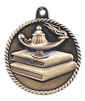 "6S5513 LAMP OF KNOWLEDGE HIGH RELIEF MEDAL (Medal: 2"" Antique Gold)"