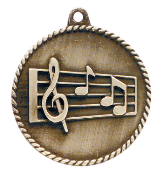 "6S5514 MUSIC HIGH RELIEF MEDAL (Medal: 2"" Antique Gold)"