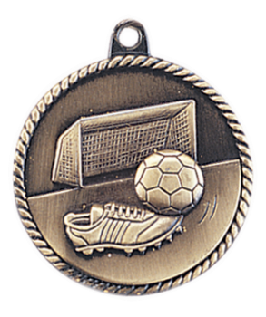 "6S5515 SOCCER HIGH RELIEF MEDAL (Medal: 2"" Antique Gold)"