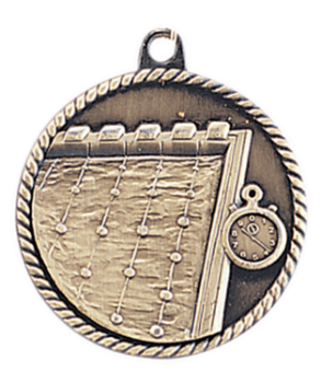 "6S5516 SWIMMING HIGH RELIEF MEDAL (Medal: 2"" Antique Gold)"