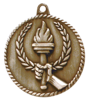 "6S5518 TORCH HIGH RELIEF MEDAL (Medal: 2"" Antique Gold)"